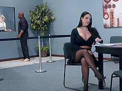 Bombshell secretary Angela White pounded by a black dick and eats cum