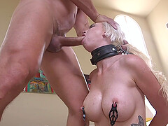 Busty blonde Astrid Star spanked and abused in bondage