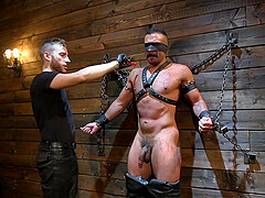 Ball busting gay bondage fetish fuck with a mature macho couple