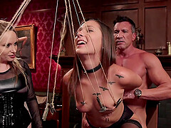Bondage experience and a group fuck is memorable with Aiden Starr