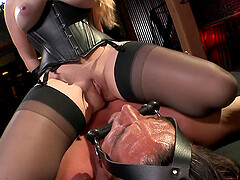Sexy black costume on Aiden Starr's body makes her friend's cum