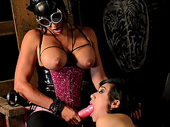 BDSM torture and sex with a dildo, Claudia Valentine and Aubrey Luna