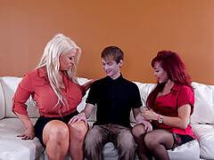 young guy fucks two matures Alura Jenson and Sexy Vanessa on the sofa