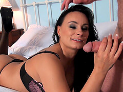 Brunette milf Eva May gets her pussy pounded in many poses
