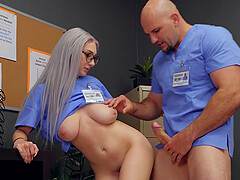 Clothed sex is what horny nurse Skylar Vox prefers with this dude
