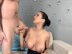 Good looking mature Sheila Marie with nice boobs strokes his tool