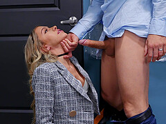 Blonde boss lady Khloe Kapri teases her assistant and gets fucked