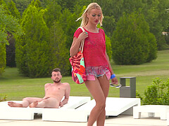 Dirty anal forusome with slutty Cherry Kiss and Tina R by the pool