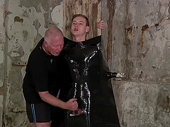 BDSM sex torture scene with two gay guys and some latex. HD