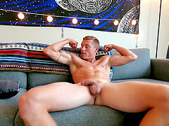 Handsome solo dude strokes his massive boner and moans. HD