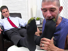 Dirty mature dude wanted to lick socks and feet of his boss