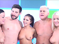 Wild group sex between two lucky guys and three provocative stars