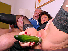 German old ugly mature mom fucks with a cucumber