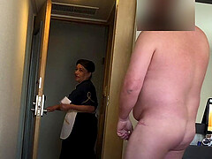Fat man flashes his dick to the hotel maid