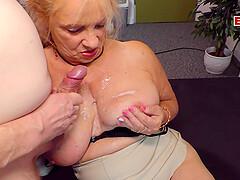 German mature granny mom fucks with big boobs