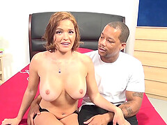 Busty mature Krissy Lynn spreads her legs for a large black dick