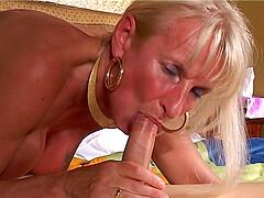 Horny blonde mature ganbanged in the hotel