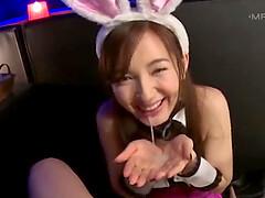 Kinky Japanese amateur with bunny ears gives an amazing blowjob