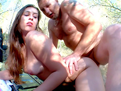 Outdoors fucking ends with a messy facial for an adorable girlfriend