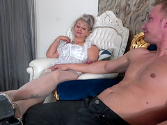 Dirty granny opens her legs to be fucked by a younger lover